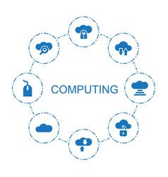 8 computing icons vector