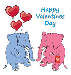 a cheerful pink elephant with balloons in the vector image