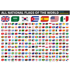 All national flags world inserted paper flag vector
