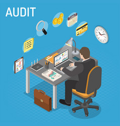 Auditing tax process accounting isometric vector