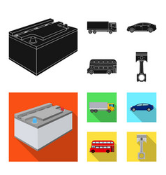 Battery and transport black flat icons in set vector