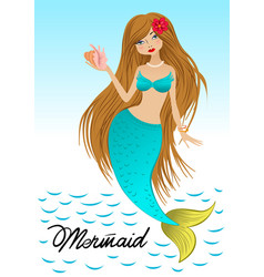 beautiful young pink-haired mermaid vector image