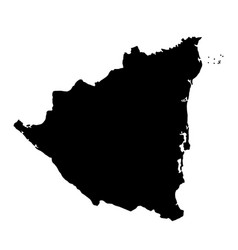black silhouette country borders map of nicaragua vector image