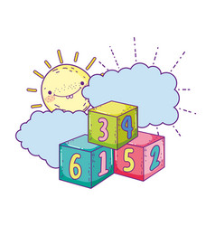 blocks numbers toys with sun kawaii vector image