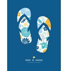 Blue and yellow flower silhouettes flip flops vector image