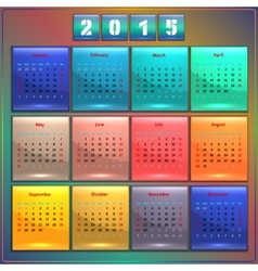 Calendar 2015 Sunday first american week 12 months vector