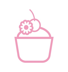 Card with a pink cream cake with a cherry on top vector