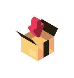 cardboard box order online shopping isometric icon vector image