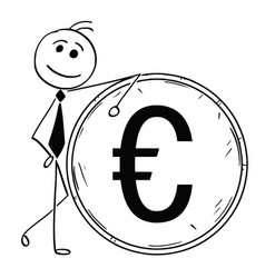 Cartoon smiling business man leaning on large vector