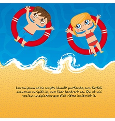 Children over sea with floats background vector