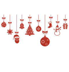 christmas hanging ornaments background christmas vector image
