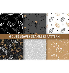 collection 6 cute leaves seamless pattern vector image