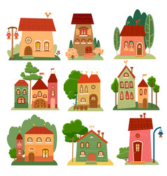 collection of cute cartoon houses in child style vector image