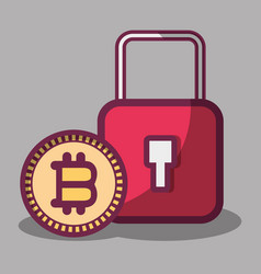 Color padlock icon and bitcoin money currency vector