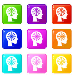 Crosshair in human head icons 9 set vector