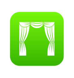 Curtain on stage icon digital green vector