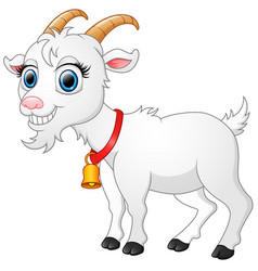 cute white goat cartoon vector image