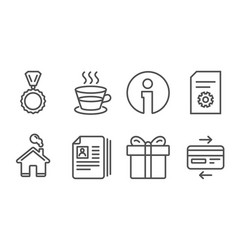 cv documents file settings and gift box icons vector image