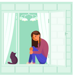 Depressed girl on window sill flat design vector