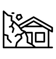 Destroyed rockfall house icon outline style vector