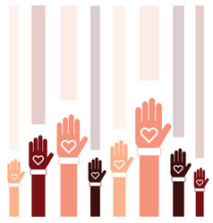 Donate icon with hand and heart set in colorful vector