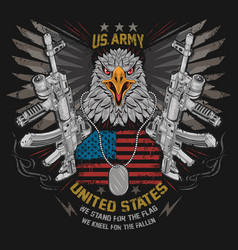 eagle usa flag and weapon with editable lay vector image