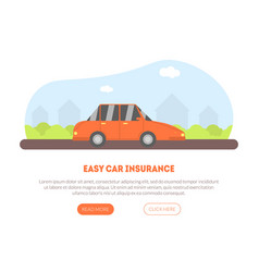 easy car insurance service landing page with place vector image