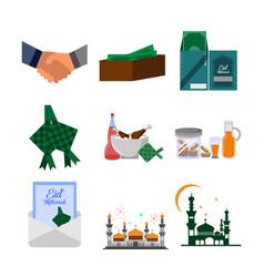 eid mubarak group design set vector image