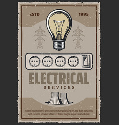 Electric socket and lightbulb retro poster vector