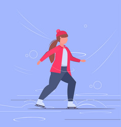 fat obese girl skating on ice rink overweight vector image