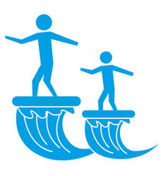 father and son on surfboard sea pictogram vector image
