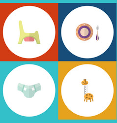 Flat baby set of toy nappy baby plate and other vector