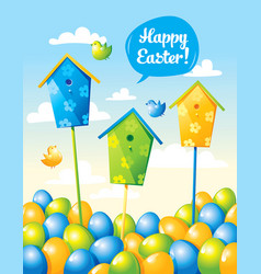 Funny easter card with eggs and birds vector