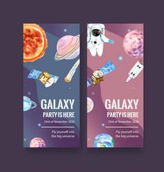 Galaxy flyer design with sun saturn asteroid vector