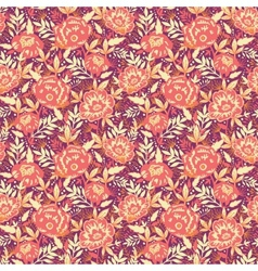 Golden flowers and leaves seamless pattern vector image