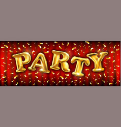 Golden party poster template with shining golden vector