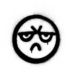 Graffiti angry icon sprayed in black over white vector