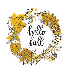 hand drawn wreath with fall vector image