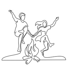happy couple jumping over a fire vector image vector image