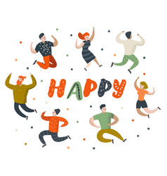 happy flat people characters jumping dancing vector image