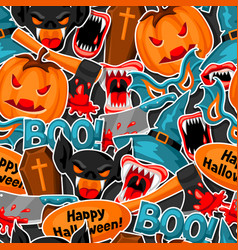 happy halloween seamless pattern with cartoon vector image