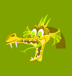 Head of cartoon dragon with open mouse the head vector
