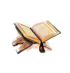 Holy book of the koran hand drawn sketch vector
