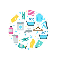 Housework drying washing flat icons round concept vector