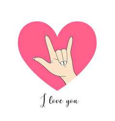 i love you hand sign drawing pink heart vector image