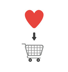 icon concept of heart inside shopping cart vector image