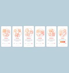 Jobs types orange onboarding mobile app page vector