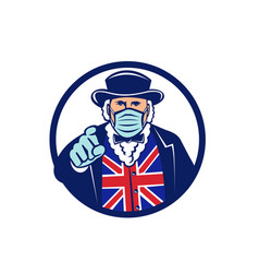 john bull wearing surgical mask pointing mascot vector image