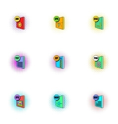 Kind of files icons set pop-art style vector