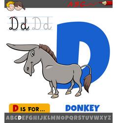 Letter d worksheet with cartoon donkey farm animal vector